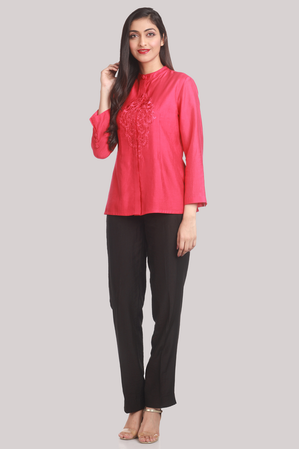 Fuchsia Chanderi Shirt With Silk Embroidery