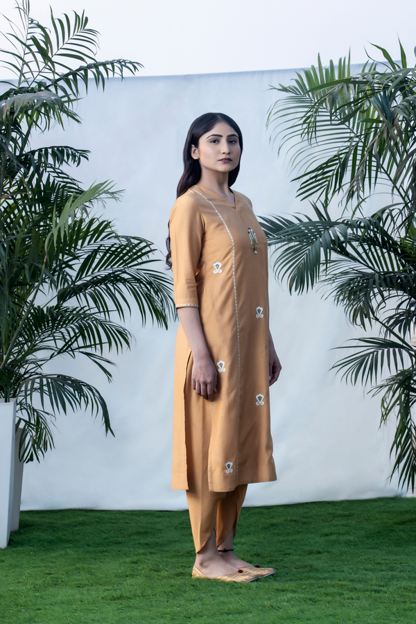 3D Ikat - Honey Gold Basic Chanderi Kurta Set