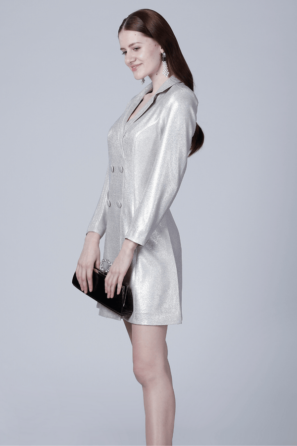 Metallic White Blazer Dress