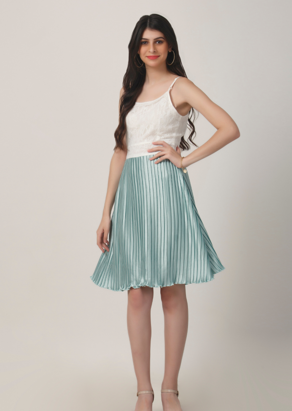 Aqua Pleated Lace Dress