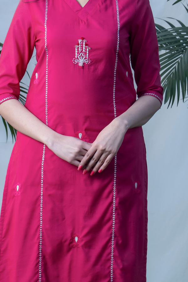3D Ikat - Bougainvillea Basic Chanderi Kurta Pants Set