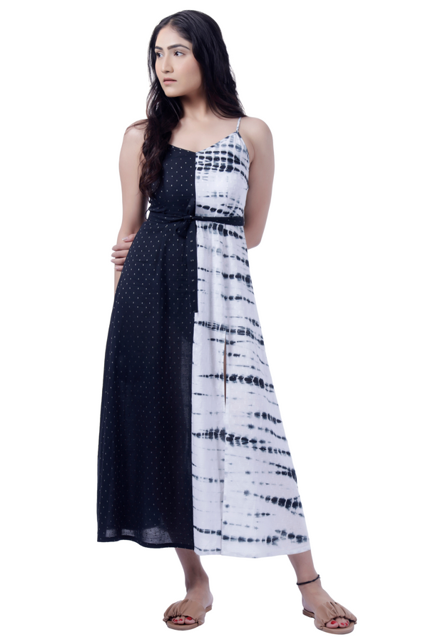 Monochrome Tie Dye Maxi Dress - Cotton