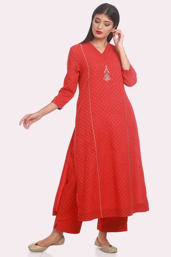 Cotton Dobby Zari Embroidered Basic Suit Set - Vermillion Red