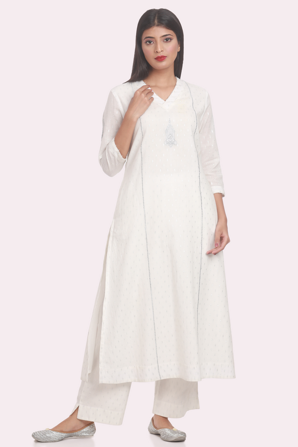 Cotton Dobby Zari Embroidered Basic Suit Set - Lily White