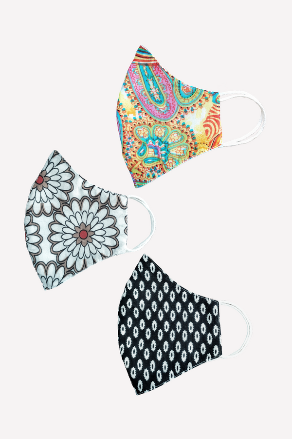 Ethno Print Mask Set, Set of 3