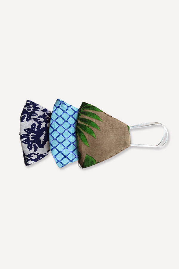 Tropical Printed Masks, Set of 3