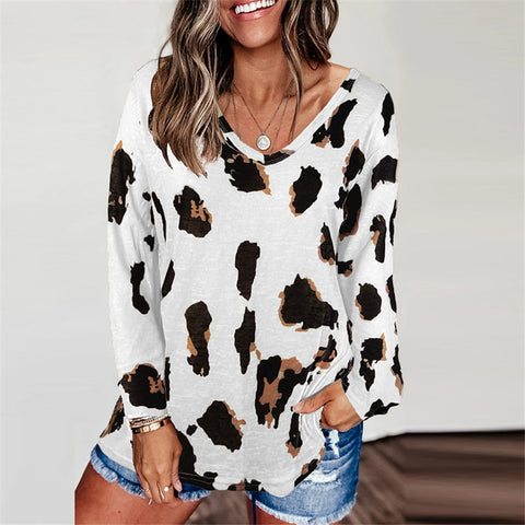 Leopard V Neck Woman tshirts Long Sleeve Loose Top Women Casual Soft Tops Tee Shirts Female harajuku mujer camisetas