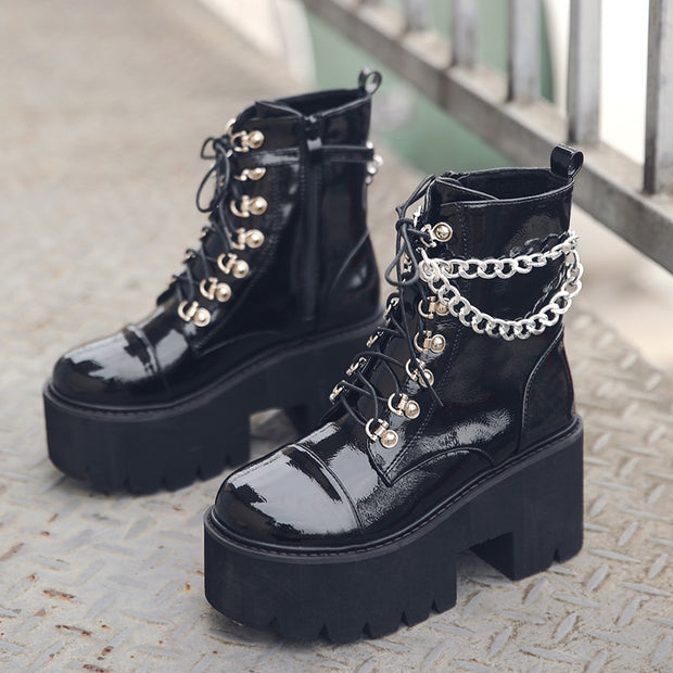 Women Gothic Ankle Boots Zip Punk Style Platform Shoes Goth Winter Lace-up Booties Chunky Heel Sexy Chain 2020 Dropshipping
