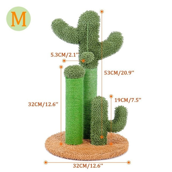 Cute Cactus Pet Cat Tree Toys with Ball Scratcher Posts for Cats Kitten Climbing Tree Cat Toy Protecting Furniture Fast Delivery