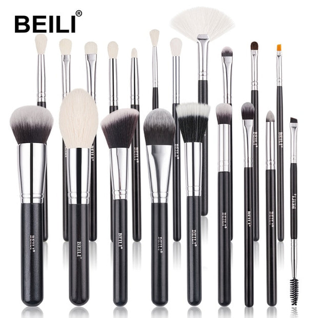 BEILI Black Makeup brushes set Professional Natural goat hair brushes Foundation Powder Contour Eyeshadow make up brushes
