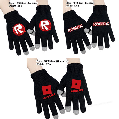 Robloxs Gloves Men's Winter Plush Gloves Game Cartoon Touch Screen Gloves Thermal Knitted Gloves Riding Skiing Outdoor Gloves