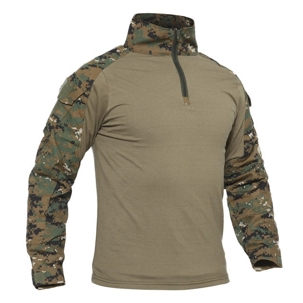 TACVASEN Men Summer Camouflage T-shirts Army Combat Tactical T Shirt Military Men's Long Sleeve T-Shirt Hunt Paintball Clothing