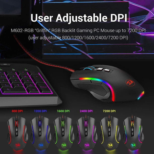 Gaming Mouse Redragon M602A-RGB Small USB Wired Optical Mice Household Computer Accessories for Desktop Laptop PC