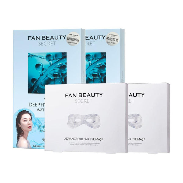 【Bundle of 4】Fan Beauty Secret Seagrape Deep Hydrating Water Gel Mask 5s x2 + Fan Beauty Secret Advanced Repair Eye Mask 5s x2 - iQueen.sg