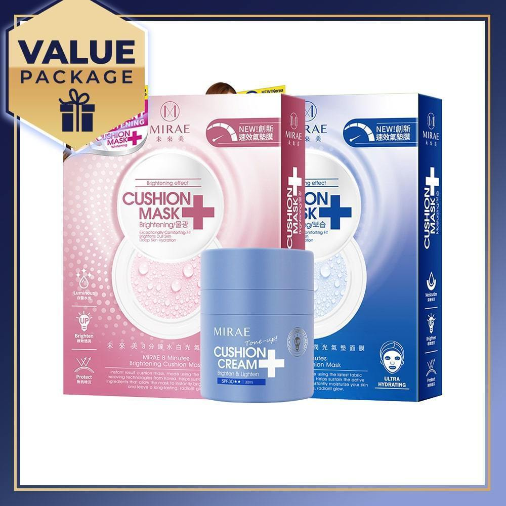 MIRAE CICA+ Plus Cushion Cream 30ml + 8 Minutes Cushion Mask 2 boxes (Moisturizing x 1 box + Brightening x 1 box) - iQueen.sg