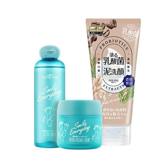 Sexylook Cactus Detox Toner 200ml + Sexylook Cactus Detox Massages Cream 75ml + Sexylook Probiotics Polishing Facial Cleanser 120ml - iQueen.sg