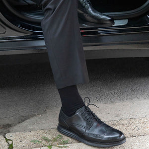 Black Easy Fit Over the Calf Dress Socks
