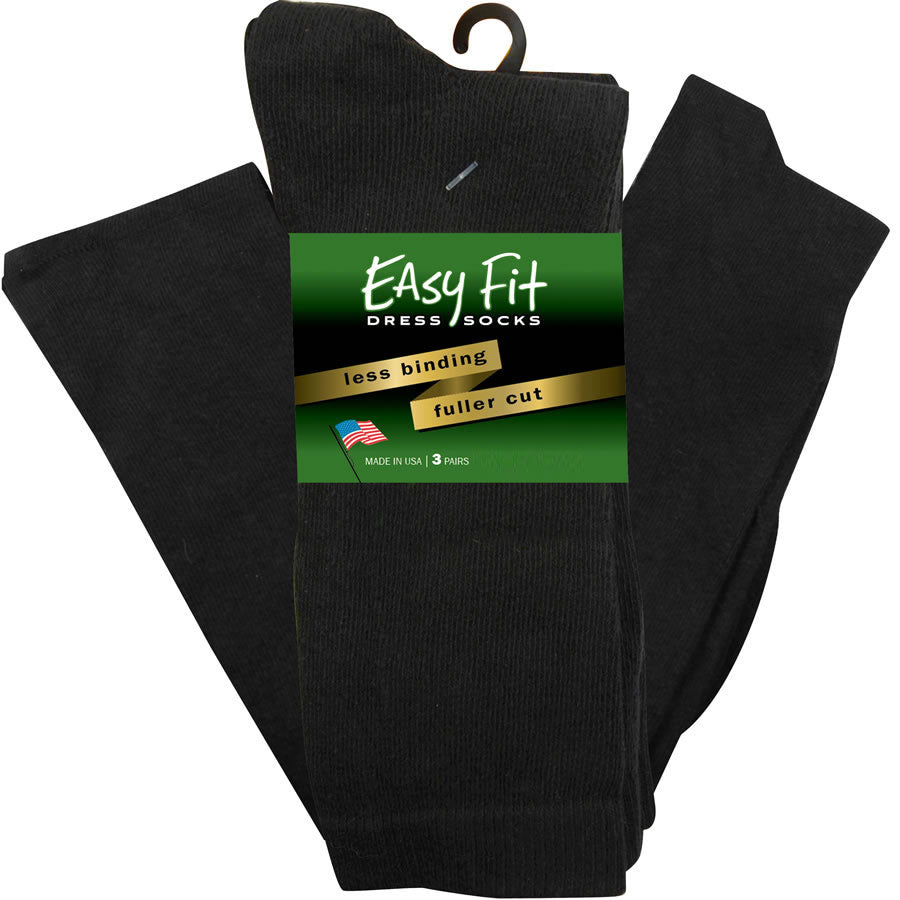 Easy Fit Over the Calf Dress Socks - Black