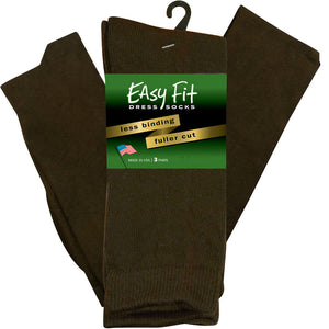 Easy Fit Over the Calf Dress Socks - Brown