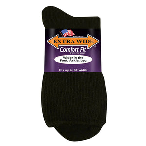Extra Wide Athletic Quarter Sock - Black
