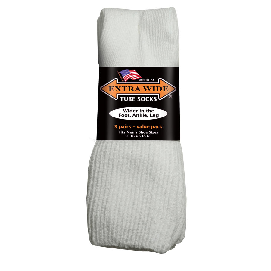 Extra Wide Tube Socks - White