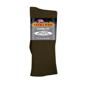 Extra Wide Dress Socks - Brown