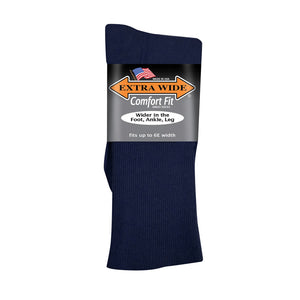 Extra Wide Dress Socks - Navy