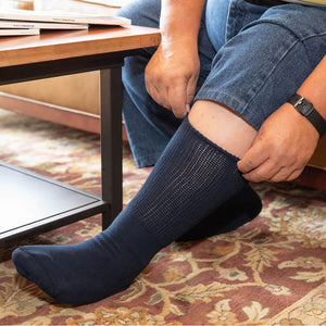 Navy Extra Wide Medical Crew Socks