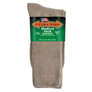 Extra Wide Medical Crew Socks - Tan