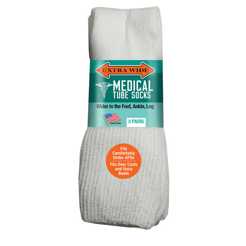Extra Wide Medical Tube Socks - White