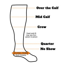 Load image into Gallery viewer, Loose Fit Stays Up Solid Merino Wool Socks Fitting Chart