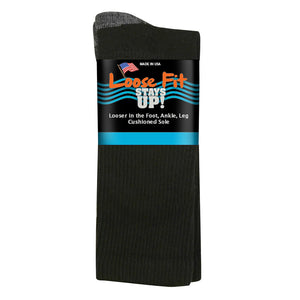 Loose Fit Stays Up Cotton Casual Crew Socks - Black
