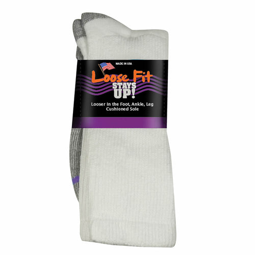 Loose Fit Stays Up Cotton Casual Crew Socks - White