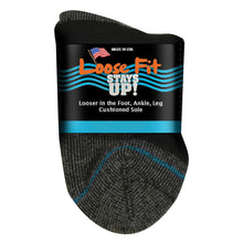 Load image into Gallery viewer, Loose Fit Stays Up Cotton Casual Quarter Socks - Black
