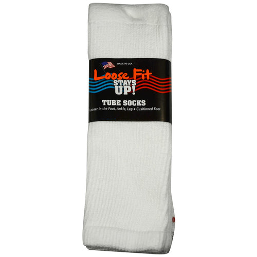 Loose Fit Stays Up Tube Socks - White