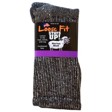 Load image into Gallery viewer, Loose Fit Stays Up Marled Merino Wool Socks - Black
