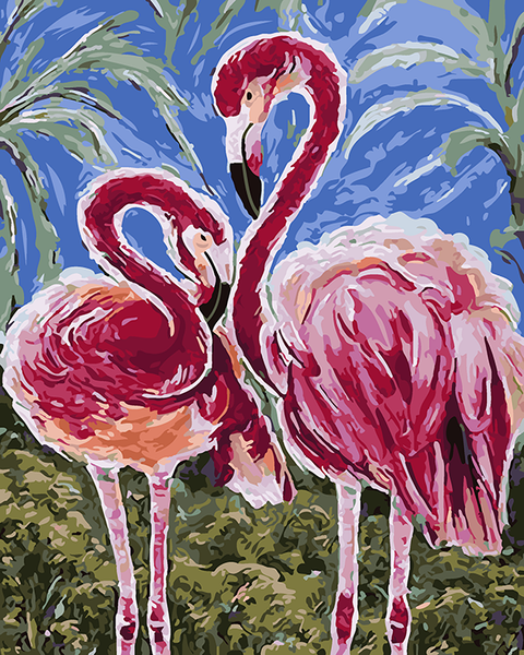 Animal DIY Paint By Numbers Kits Loving Flamingo DIY Paint By Numbers