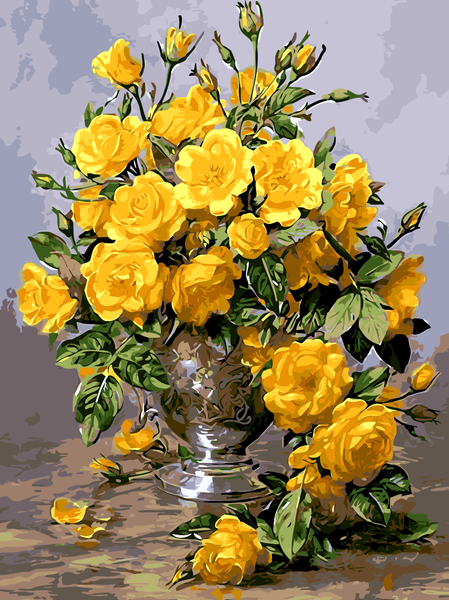 Yellow Rose In Bottle DIY Paint By Numbers Kits Creative Wall Art Handmade Gift Home Decor