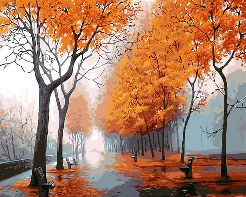Landscape DIY Paint By Numbers Kits Autumn Trail DIY Paint By Numbers