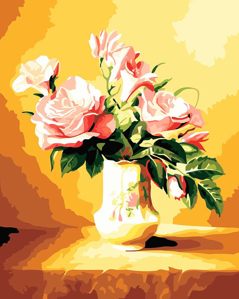 Pink Rose DIY Paint By Numbers Kits Flower DIY Paint By Numbers