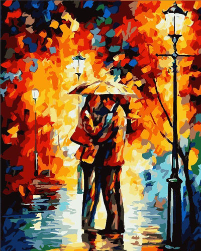 Lovers In The Rain DIY Paint By Numbers Kits Creative Wall Art DIY Handmade Gift Home Decor