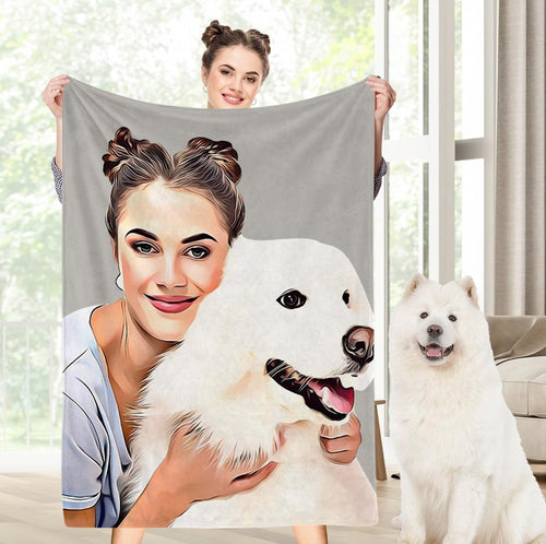 Personalized Gift Custom Pets Dog Photo Fleece Blanket Photo Fleece Blanket