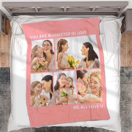 Personalized  Fleece Photo Blanket with 5 Photos Mother's Day Gift