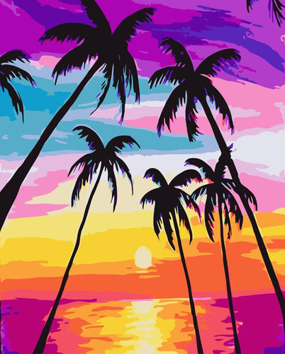Sunset By The Sea DIY Paint By Numbers Kits Creative Wall Art DIY Handmade Gift Home Decor