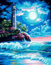 Moonlight Lighthouse DIY Paint By Numbers Kits Creative Wall Art DIY Handmade Gift Home Decor