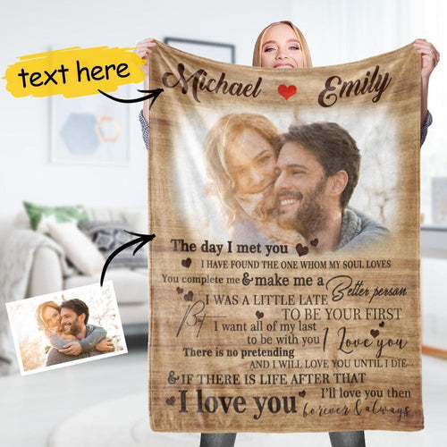Anniversary Gift Custom Couple Photo Blanket With Personalized Name Best Gift for Her