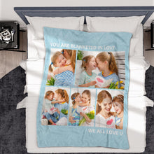 Personalized  Fleece Photo Blanket with 5 Photos Best Gift for Mom