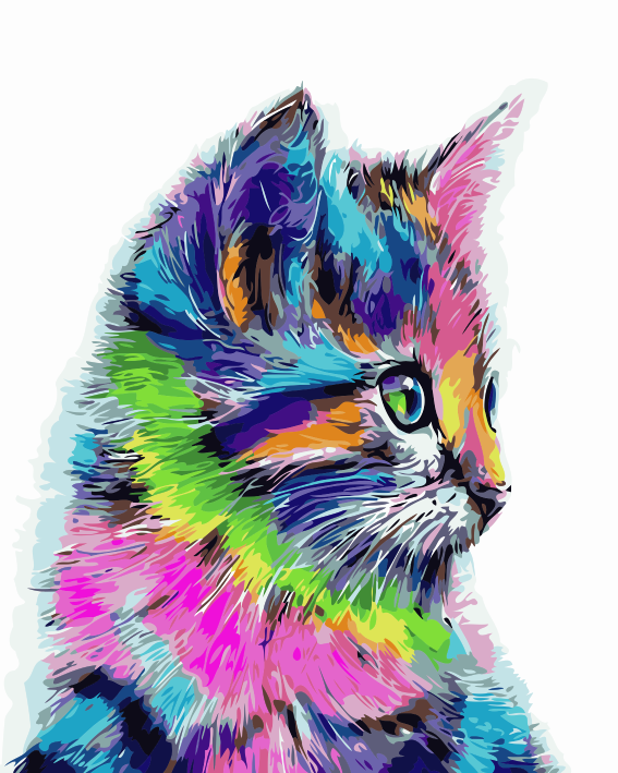 Colorful Watercolor Style Cat DIY Paint By Numbers Kits Creative Wall Art DIY Handmade Gift Home Decor