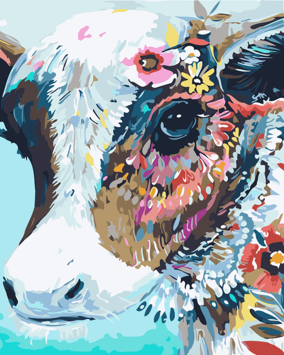 Colorful Watercolor Style Cow DIY Paint By Numbers Kits Creative Wall Art DIY Handmade Gift Home Decor
