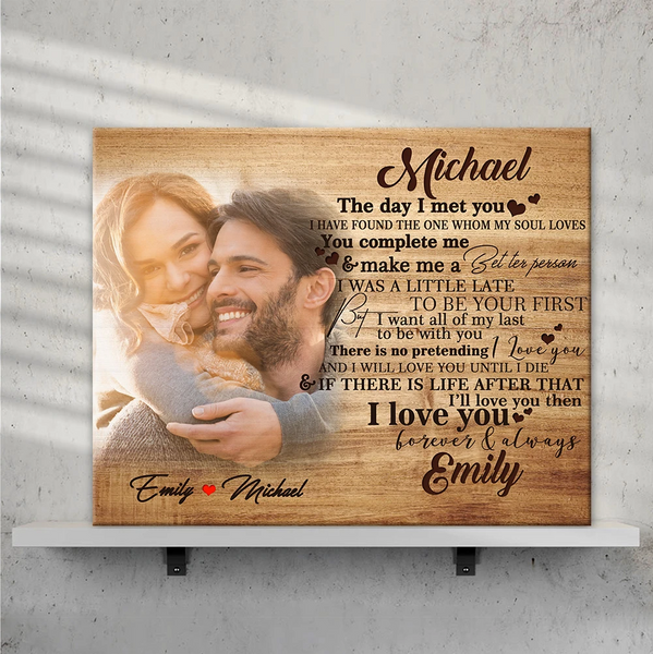 Custom Photo Wall Decor Painting Canvas Personalized Gift With Couple Name